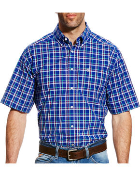 Ariat Men's Blue Dennis Plaid Western Shirt - Tall , Blue, hi-res