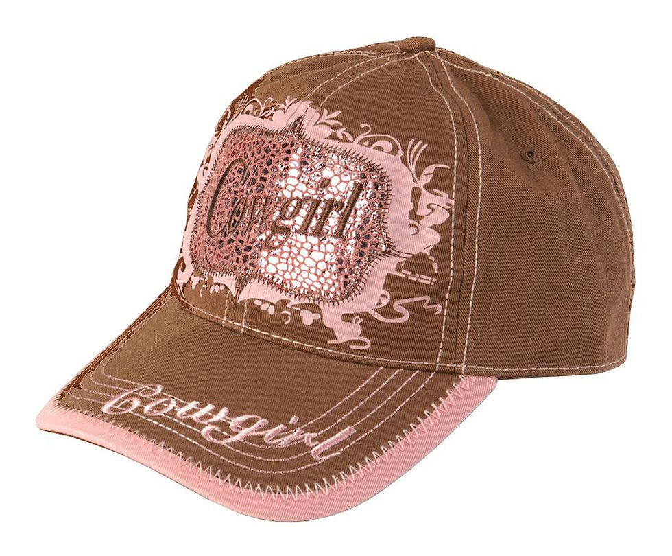 Blazin Roxx Brown & Pink Metallic Cowgirl Cap, Brown, hi-res