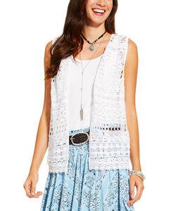 Ariat Women's White Lace Vest , White, hi-res