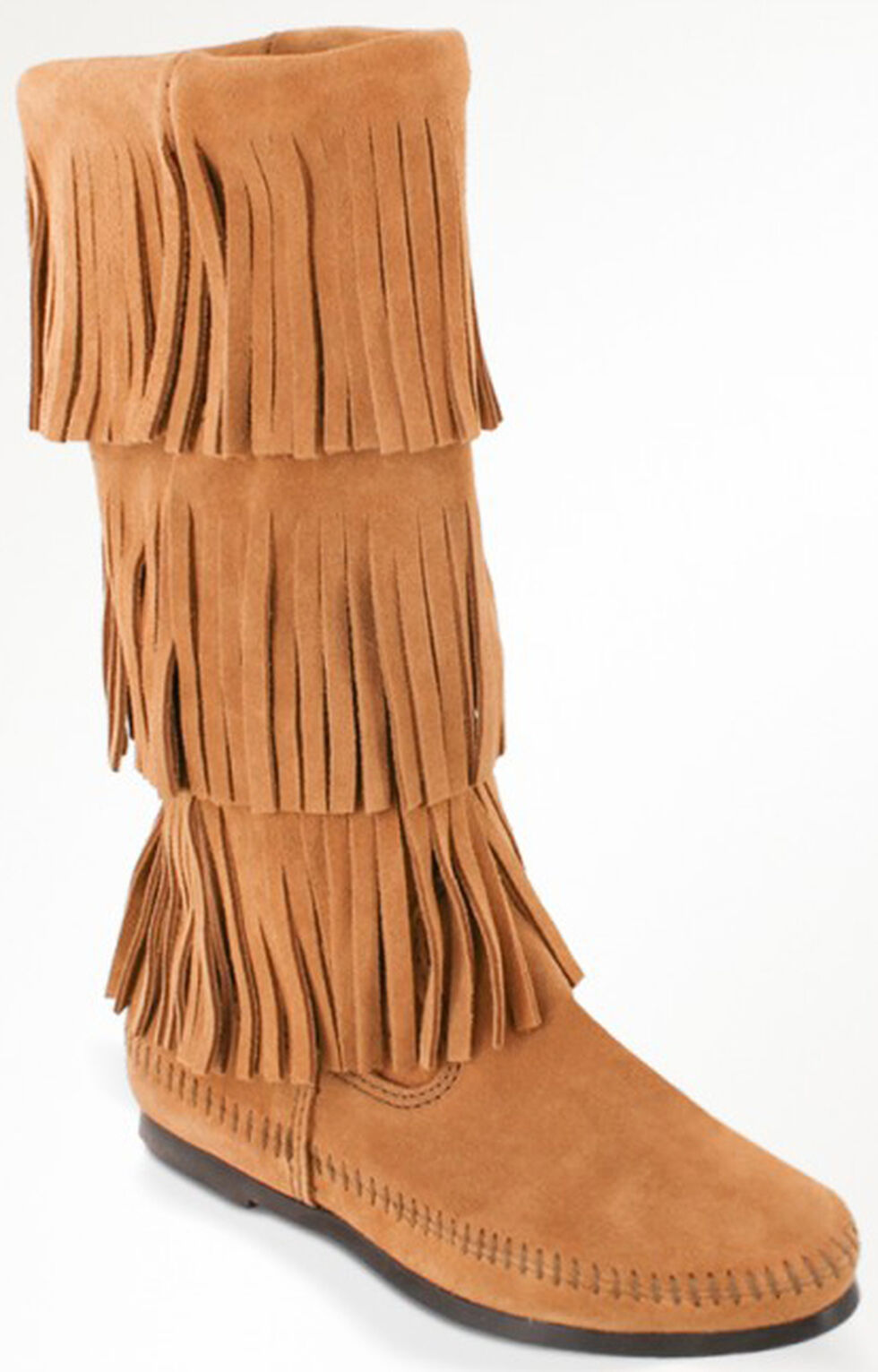 Minnetonka Women's Calf Hi 3-Layer Fringe Boots, Taupe, hi-res
