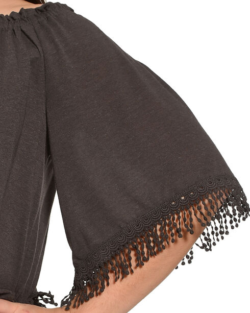 Eyeshadow Women's Charcoal Fringe Trim Peasant Top - Plus, Charcoal, hi-res