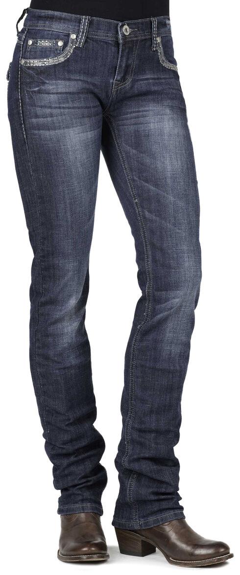 Stetson 541 Stovepipe Rhinestone Flap Pocket Jeans, Denim, hi-res