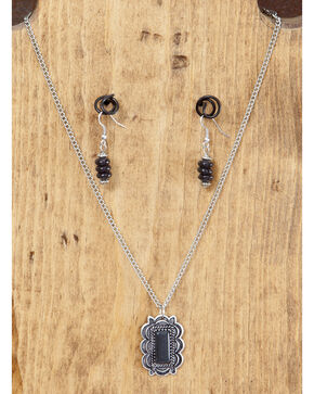 West & Co. Burnished Silver & Black Pendant Necklace & Earrings Set, Silver, hi-res