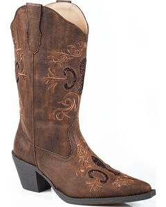 Roper Glitter Inlay Cowgirl Boots - Pointed Toe, , hi-res