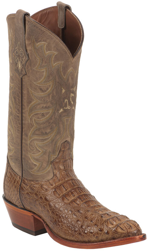 Tony Lama Gold and Tan Vintage Exotics Hornback Caiman Cowboy Boots - Round Toe , Tan, hi-res