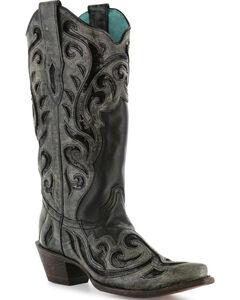 Corral Women's Laser Cut Sequin Inlay Boots - Snip Toe , Black, hi-res