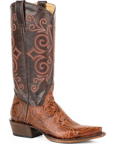 Roper Brown Faux Tooled Cowgirl Boots - Snip Toe , , hi-res
