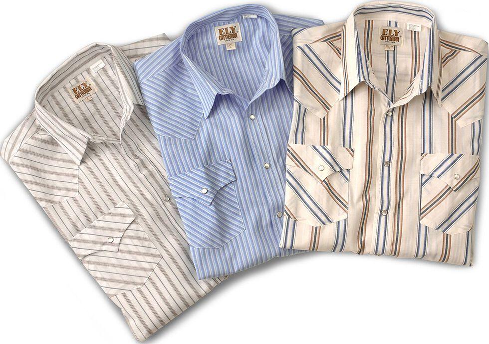 Ely Assorted Plaid & Stripe Long Sleeve Western Shirts - Big, Tall, Big/Tall, Stripe, hi-res