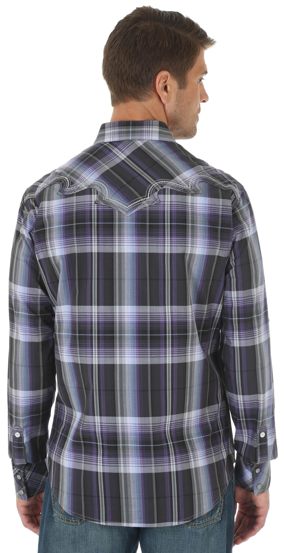 Wrangler Rock 47 Men's Purple Western Fashion Long Sleeve Plaid Shirt , Purple, hi-res