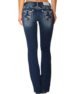Grace in LA Women's Embroidered Easy Fit Jeans - Boot Cut, Indigo, hi-res
