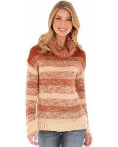 Wrangler Women's Camel Ombre Cowl Neck Sweater , Camel, hi-res