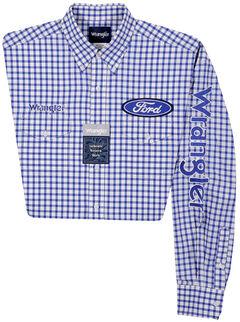 Wrangler Men's Long Sleeve Ford Logo Checkered Shirt - Big and Tall, Blue, hi-res