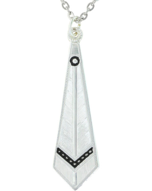 Montana Silversmiths Women's Silver Keen Feather Necklace , Silver, hi-res