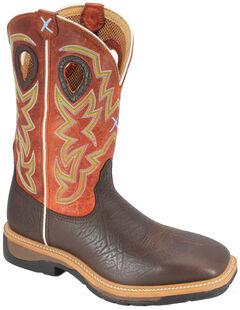 Twisted X Orange Lite Cowboy Work Boots - Soft Square Toe, Brown, hi-res
