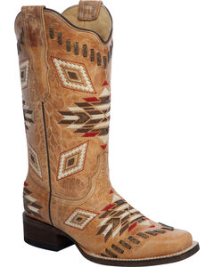 Corral Woven Aztec Pattern Cowgirl Boots - Square Toe, , hi-res