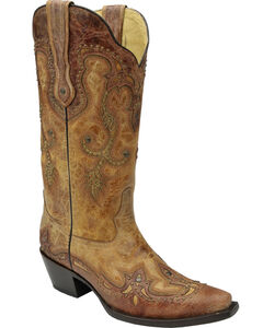 Corral Women's Cognac Antique Saddle Cowgirl Boots - Snip Toe, , hi-res