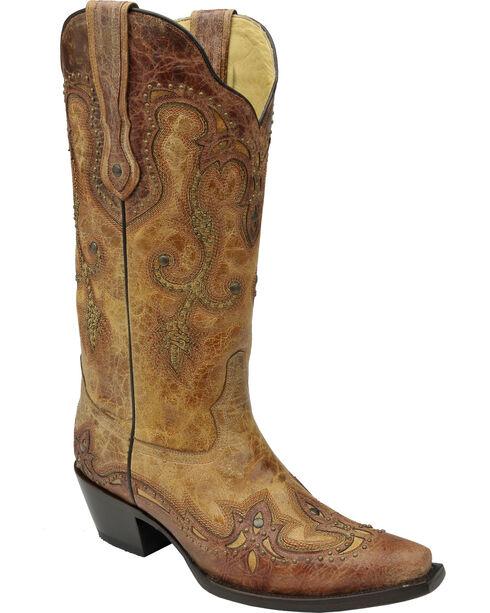 Corral Women's Cognac Antique Saddle Cowgirl Boots - Snip Toe, Antique Saddle, hi-res