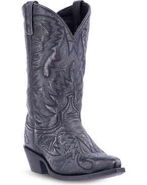 Laredo Men's Garrett Distressed Western Boots - Snip Toe , Black, hi-res