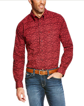 Ariat Men's Coral Paisley Long Sleeve Shirt, Wine, hi-res