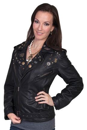 Scully Embellished Lamb Motorcycle Jacket, Black, hi-res