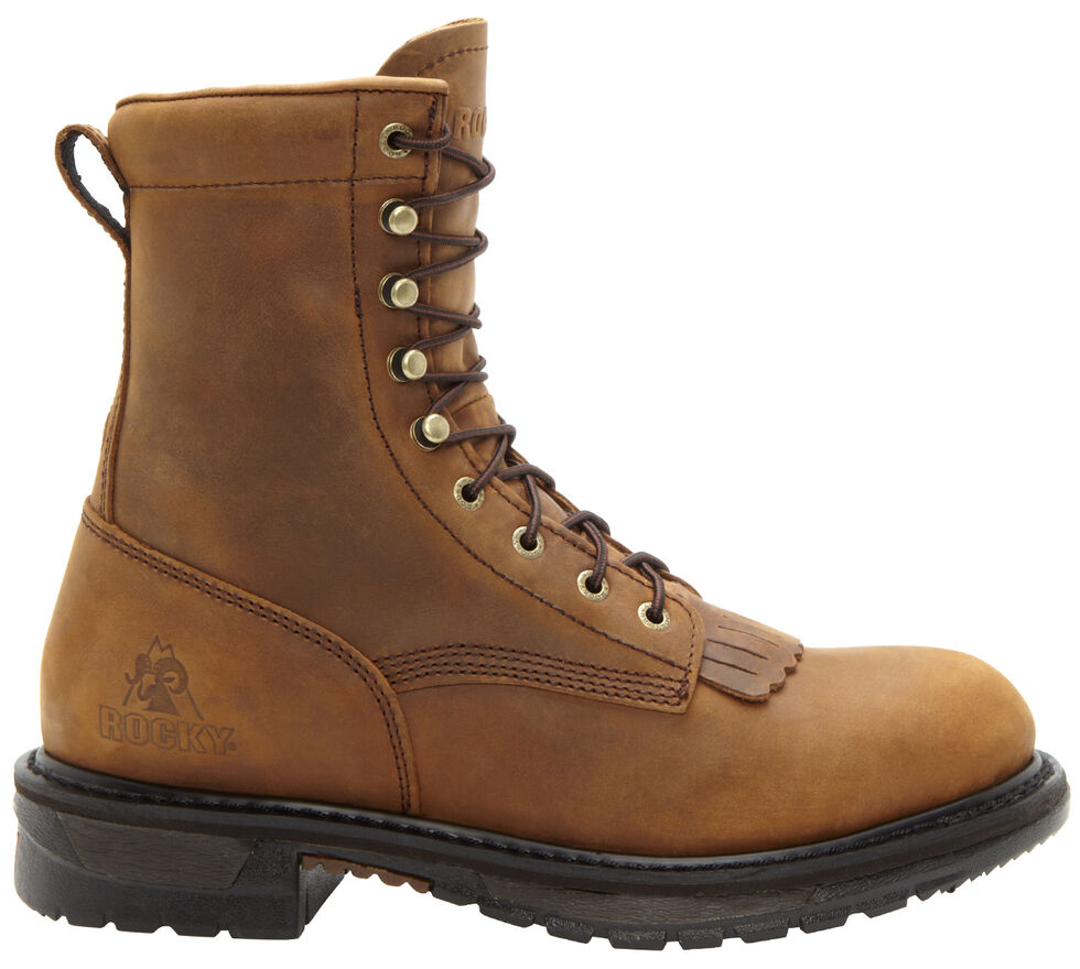 "Rocky Original Ride Waterproof 8"" Lacer Boots - Round Toe, Brown, hi-res"