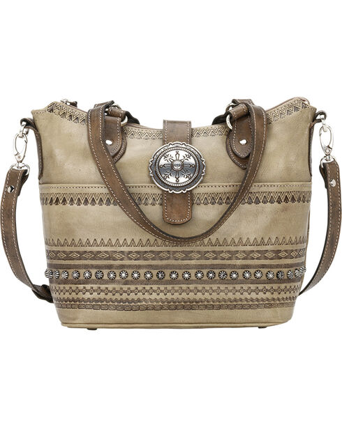 American West Women's Trading Post Convertible Zip Top Bucket Tote, Sand, hi-res