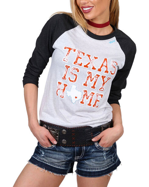 Bohemian Cowgirl Women's Texas is Home Long Sleeve Baseball Tee, Black, hi-res