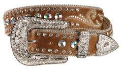 Nocona Hair On Embellished Leather Belt, , hi-res