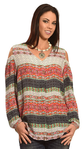 New Direction Sport Women's Cold Shoulder Print Shirt , Multi, hi-res