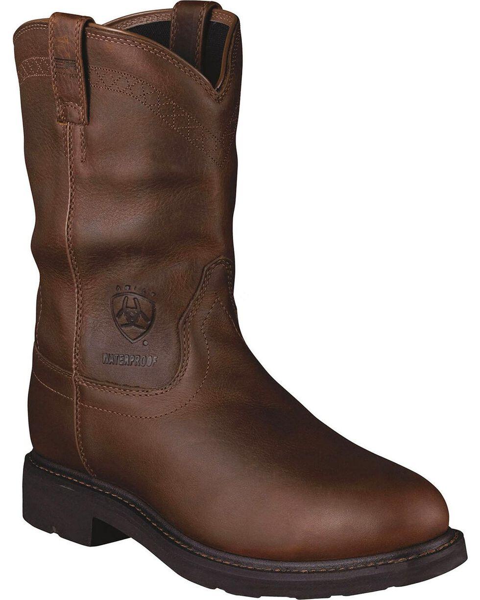 Ariat Sierra Waterproof Pull-On Work Boots - Steel Toe, Brown, hi-res