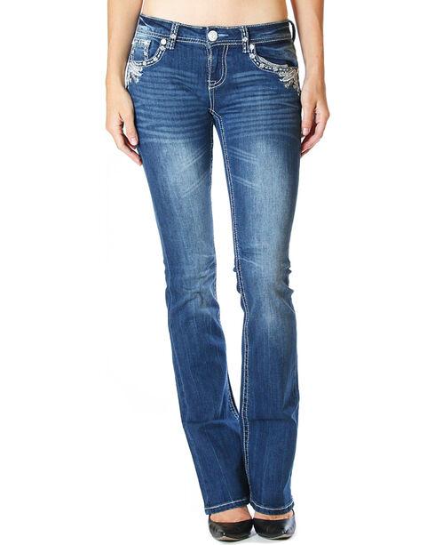 Grace in LA Women's Dark Blue Flap Pocket Jeans - Boot Cut , Dark Blue, hi-res