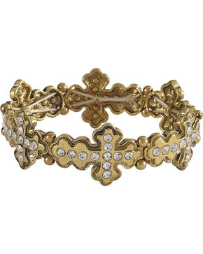 Shyanne Women's Rhinestone Cross Bracelet, Gold, hi-res