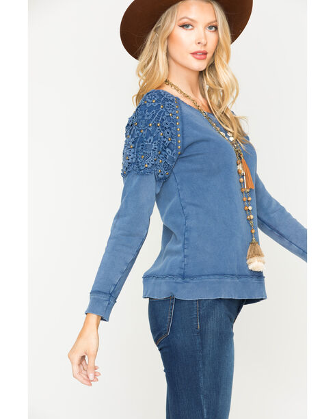 Vintage Havana Women's Crochet Shoulder Sweatshirt, Indigo, hi-res