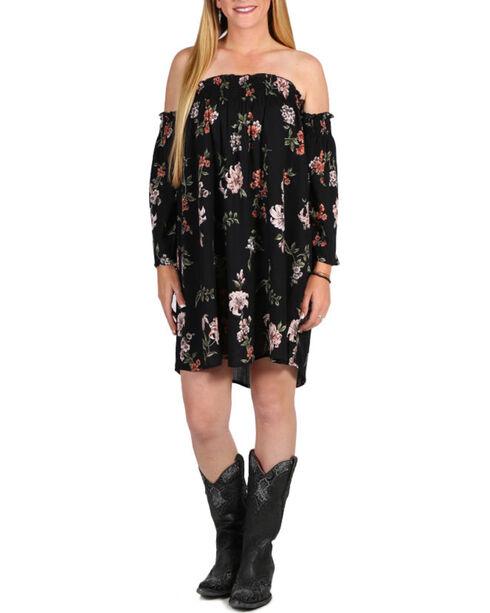 Angie Women's Black Off The Shoulder Floral Dress , Black, hi-res