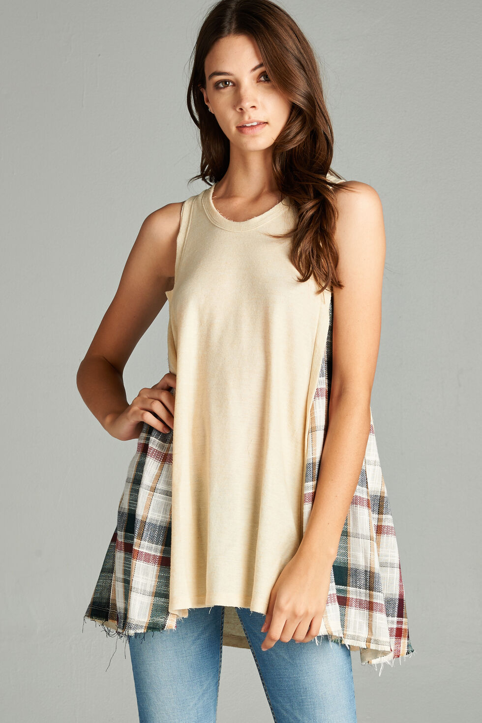 Hyku Women's Natural Plaid Contrast Tunic Top, Natural, hi-res
