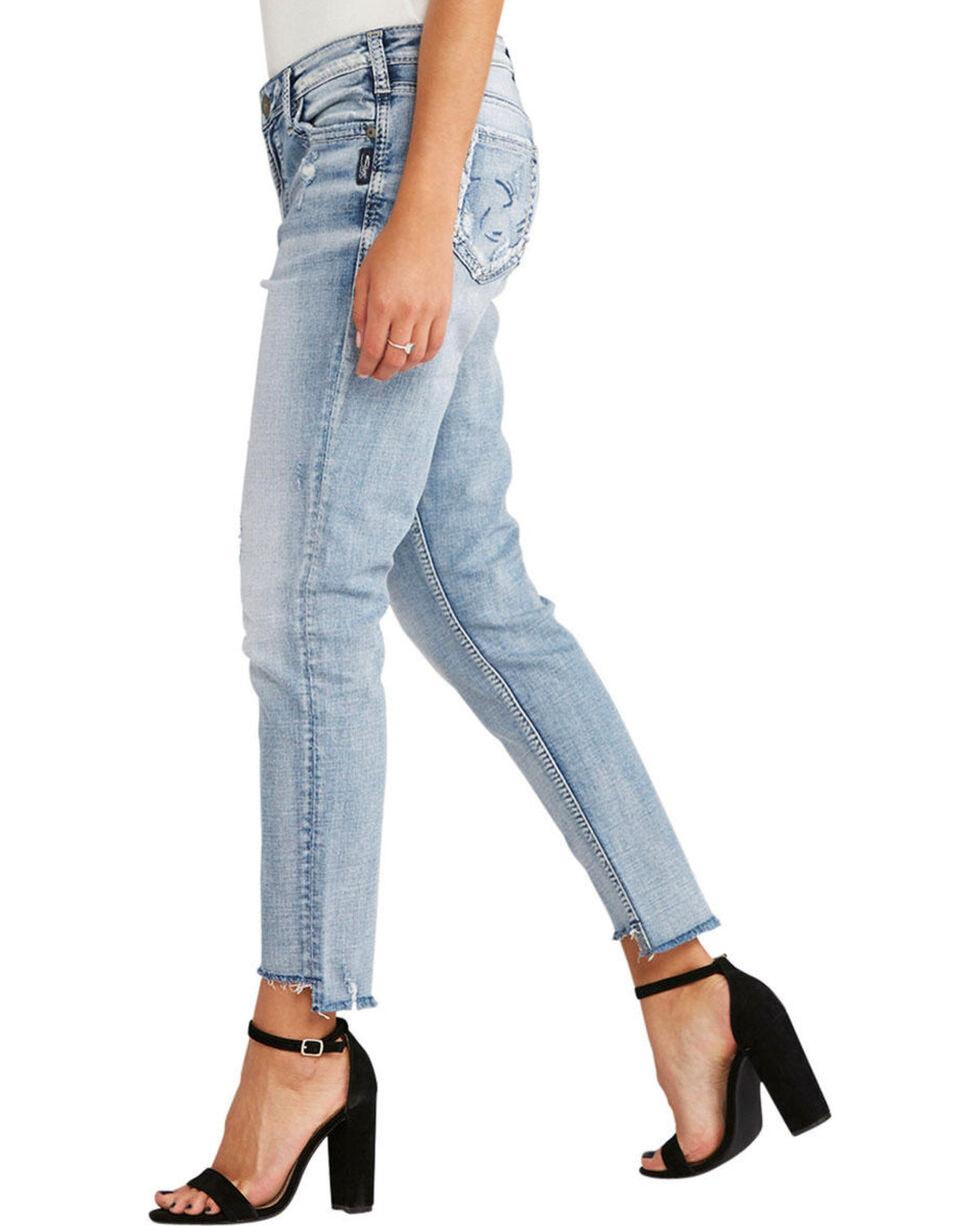 Silver Women's Loose Boyfriend Ankle Skinny Jeans , Indigo, hi-res