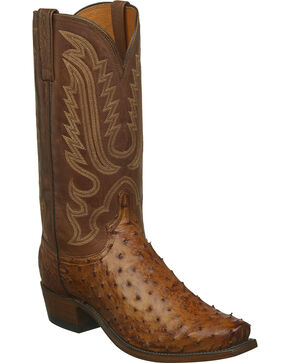 Lucchese Men's Handmade Luke Full Quill Ostrich Western Boots - Narrow Square Toe, Tan, hi-res