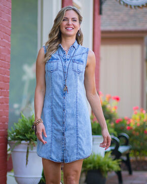 Ryan Michael Women's Indigo Sleeveless Denim Dress , Indigo, hi-res