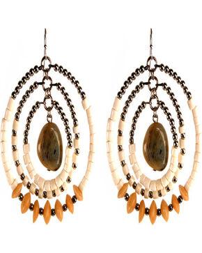 Treska Women's Beaded Hoop Earrings, White, hi-res
