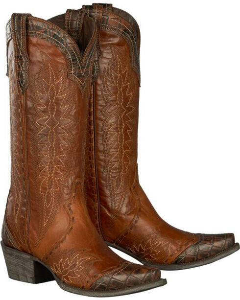 Lane for Double D Ranch Brown Ramirez Croc Print Cowgirl Boots - Snip Toe , Brown, hi-res