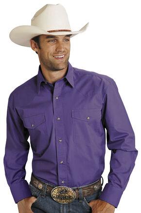 Roper Purple Poplin Western Shirt, Purple, hi-res