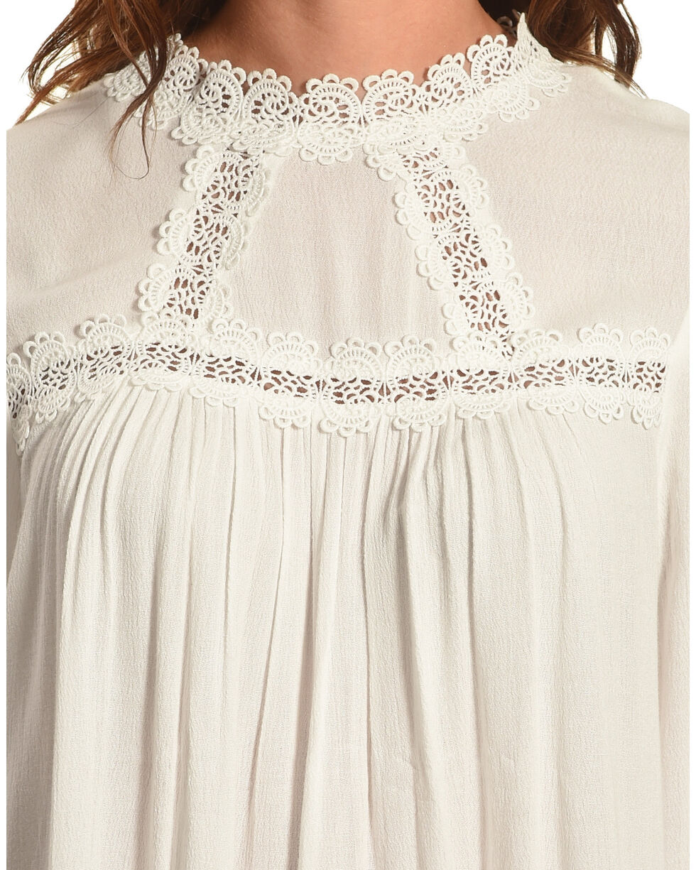 Angel Premium Women's Bette Ruffle Sleeve Top, Cream, hi-res