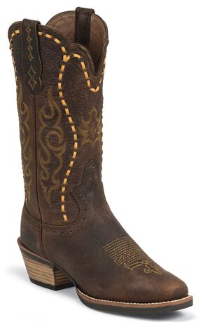 Justin Silver Leather Laced Cowgirl Boots - Square Toe, Copper, hi-res
