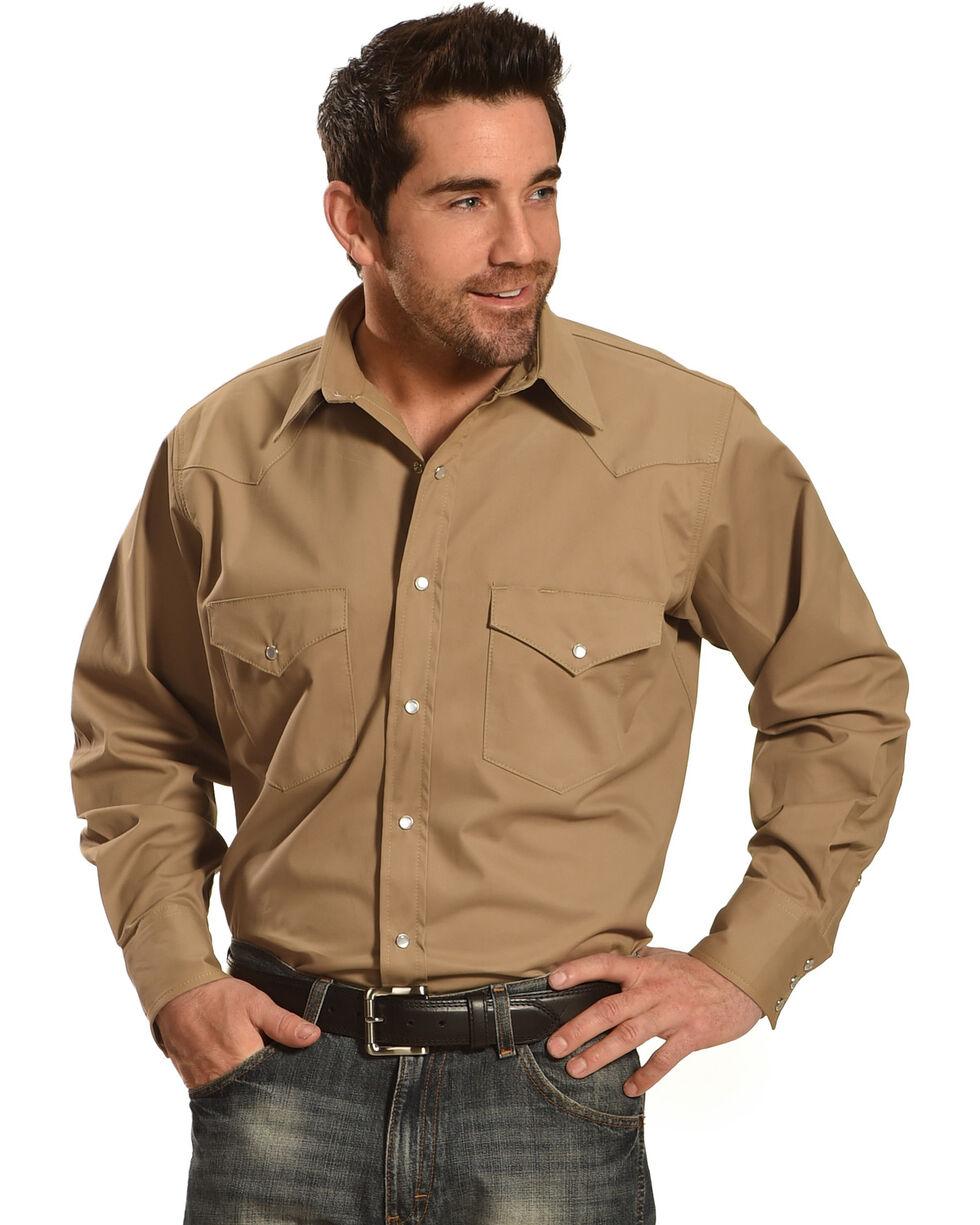 Crazy Cowboy Men's Long Sleeve Western Shirt - Big and Tall, Khaki, hi-res