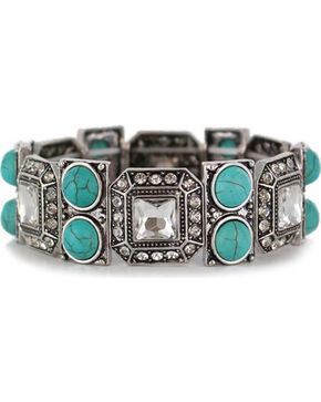 Shyanne Women's Rhinestone & Turquoise Bracelet , Silver, hi-res
