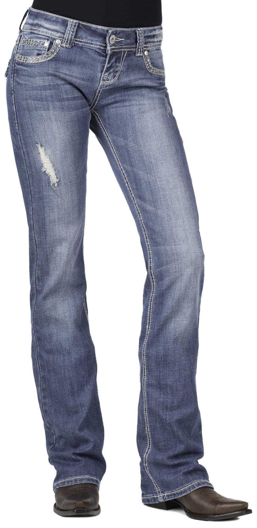 Stetson Women's 818 Rhinestone Boot Cut Jeans, Denim, hi-res
