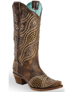 Corral Women's Honey Embroidery Studded Cowgirl Boots - Snip Toe, Honey, hi-res
