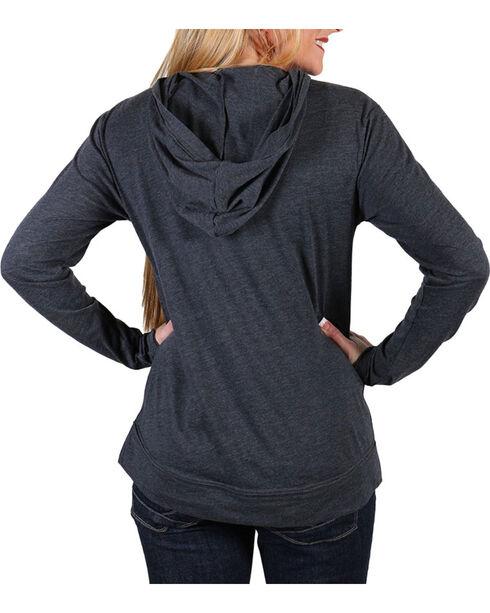 Cowgirl Tuff Women's Grey Freedom Long Sleeve Hoodie , Grey, hi-res
