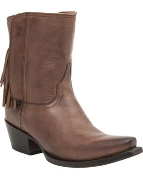Lucchese Handcrafted 1883 Women's Flannery Fringe Zipper Boots - Snip Toe, Tan, hi-res