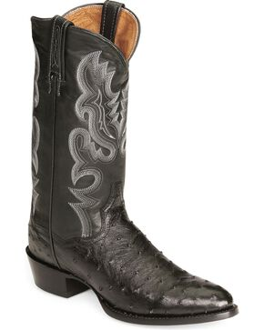 Dan Post Full Quill Ostrich Cowboy Certified Boots - Medium Toe, Black, hi-res
